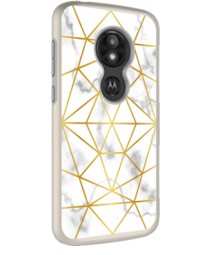 Picture of AMPD Dual Protection Slim Design Series for Moto E5 Play, Motorola Marble With Gold Pattern
