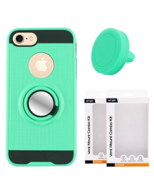 Picture of AMPD Metallic Case With Ring Holder & Vent Mount Base Plate for iPhone 7, Teal