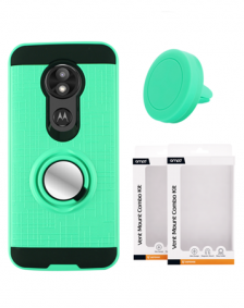 Picture of AMPD Metallic Ring Stand Case & Vent Mount Magnet Combo Kit for Motorola Moto E5 Play, Teal