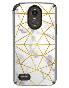 Picture of AMPD Dual Protection Slim Design Series for LG Stylo 3, Marble With Gold Pattern