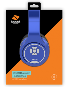 Picture of Boost Mobile BX1000 Stereo Over-Ear BT Headphones, Blue