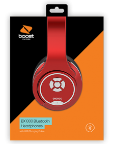 Picture of Boost Mobile BX1000 Stereo Over-Ear BT Headphones, Red