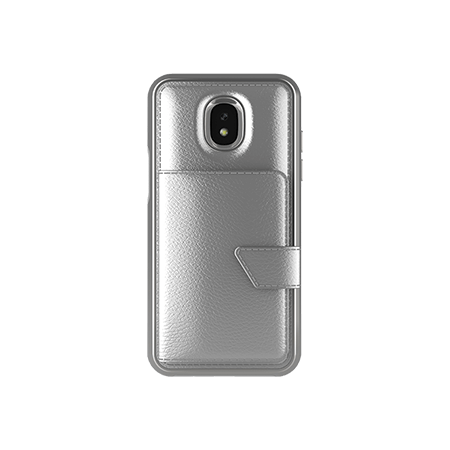 Picture of Compact Mirror Series for Samsung J3 Achieve, Silver Leather