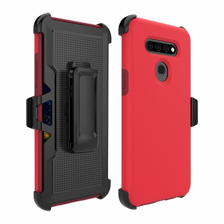 Picture of SYB Dual Shield Case w Holster for LG K51, Red