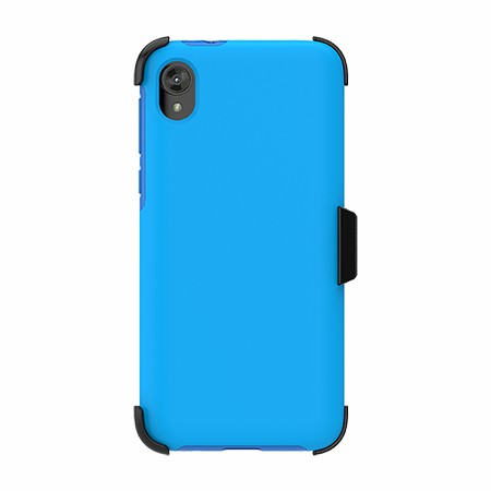 Picture of SYB Dual Shield Case w Holster for Moto E6 Play, SoftBlue