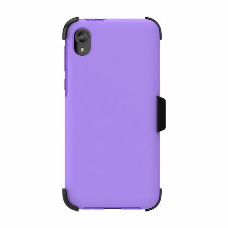 Picture of SYB Dual Shield Case w Holster for Moto E6 Play, Violet