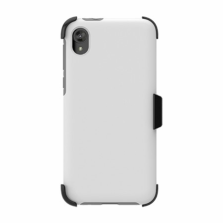 Picture of SYB Dual Shield Case w Holster for Moto E6 Play, White