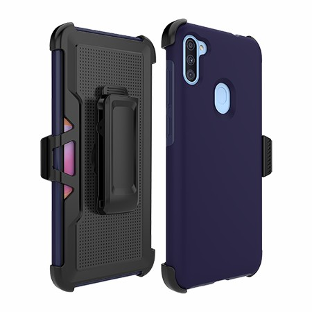 Picture of SYB Dual Shield Case w Holster for Samsung A11, Dark Blue