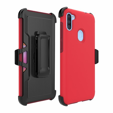 Picture of SYB Dual Shield Case w Holster for Samsung A11, Red