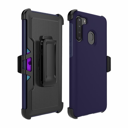 Picture of SYB Dual Shield Case w Holster for Samsung A21, Dark Blue