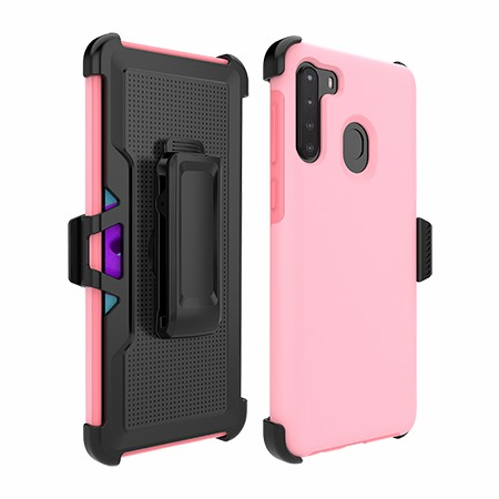 Picture of SYB Dual Shield Case w Holster for Samsung A21, Pink