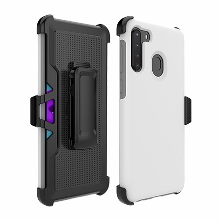 Picture of SYB Dual Shield Case w Holster for Samsung A21, White