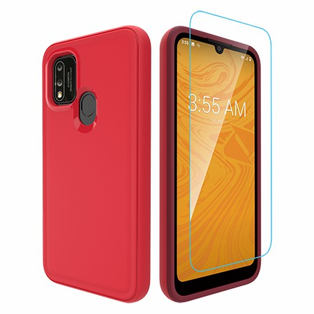 Picture of Intact Case for Coolpad Suva w/Glass Screen Guard, Red