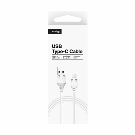 Picture of Ondigo USB A to Type C 3Ft Charging/Data Cable, White