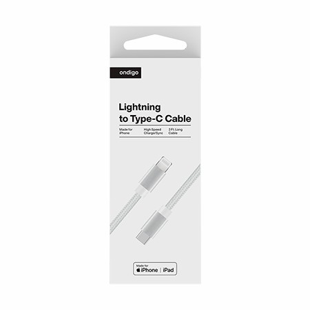 Picture of Ondigo Type C to MFI Lightning Fast Charge & Data 3 Feet Braided Armor Cable, White