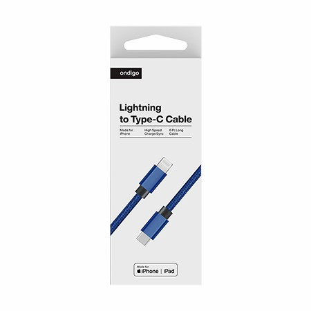 Picture of Ondigo Type C to MFI Lightning Fast Charge & Data 6 Feet Braided Armor Cable, Blue