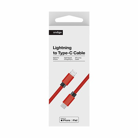 Picture of Ondigo Type C to MFI Lightning Fast Charge & Data 6 Feet Braided Armor Cable, Red