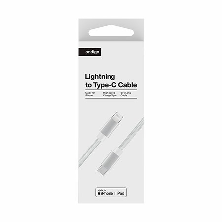 Picture of Ondigo Type C to MFI Lightning Fast Charge & Data 6 Feet Braided Armor Cable, White