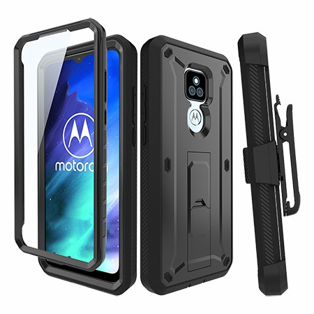 Picture of Max Impact Kickstand Case w/Holster for Moto G Play, Black