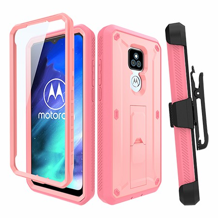 Picture of Max Impact Kickstand Case w/Holster for Moto G Play, Soft Pink