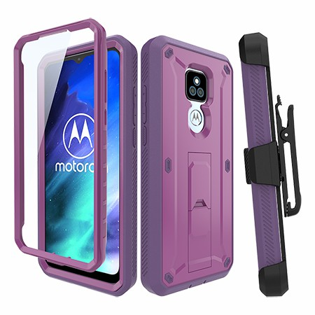 Picture of Max Impact Kickstand Case w/Holster for Moto G Play, Purple