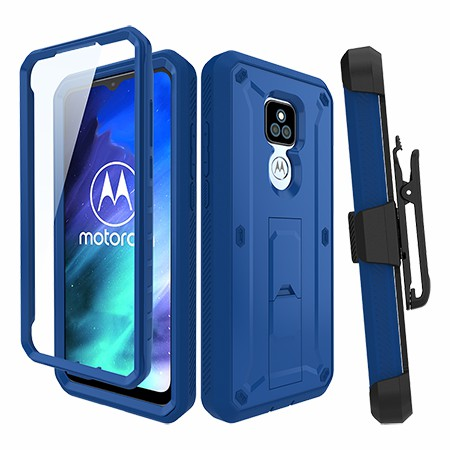 Picture of Max Impact Kickstand Case w/Holster for Moto G Play, Reflex Blue