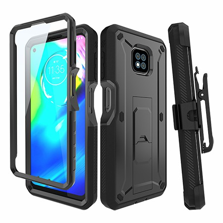 Picture of Max Impact Kickstand Case w/Holster for Moto G Power, Black