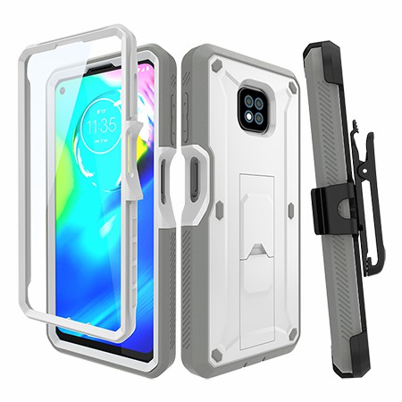 Picture of Max Impact Kickstand Case w/Holster for Moto G Power, White