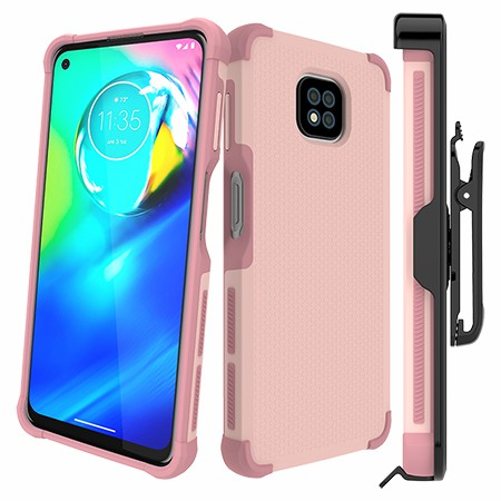 Picture of Secure Impact Case w Holster for Moto G Power, Soft Pink