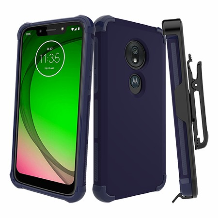 Picture of Secure Impact Case w Holster for Moto G7 Play, Dark Blue