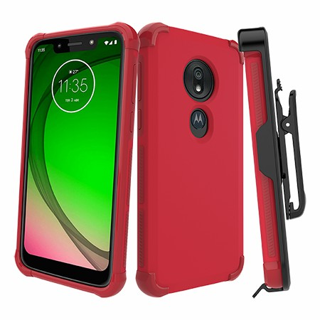 Picture of Secure Impact Case w Holster for Moto G7 Play, Red
