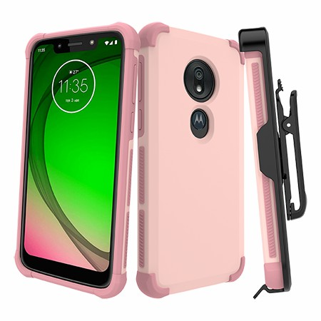 Picture of Secure Impact Case w Holster for Moto G7 Play, Soft Pink
