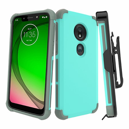 Picture of Secure Impact Case w Holster for Moto G7 Play, Teal