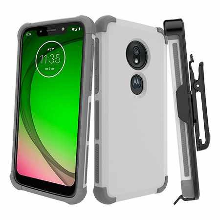 Picture of Secure Impact Case w Holster for Moto G7 Play, White