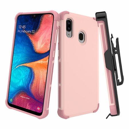 Picture of Secure Impact Case w Holster for Samsung A20, Soft Pink
