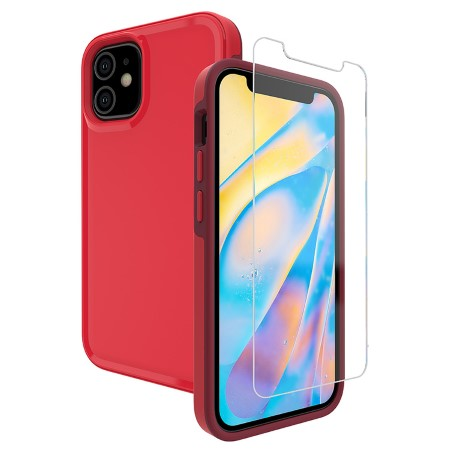 Picture of Intact Case for iPhone 12 Mini w/Glass Screen Guard, Red
