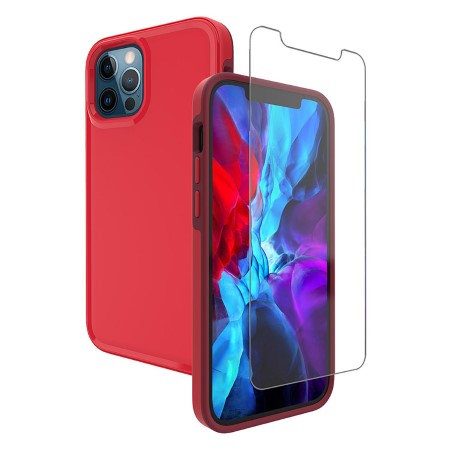 Picture of Intact Case for iPhone 12 Pro Max w/Glass Screen Guard, Red