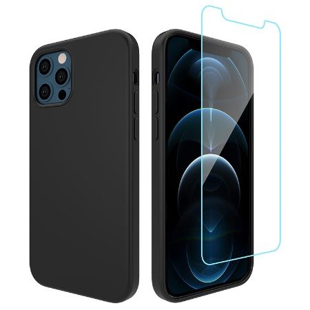 Picture of Lucid Case for iPhone 12/12 Pro w/Glass Screen Guard, Black