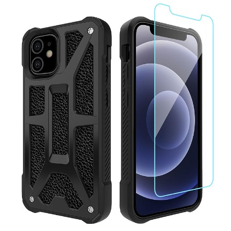 Picture of Supreme Armor Case for iPhone 12 Mini w/Glass Screen Guard, Black