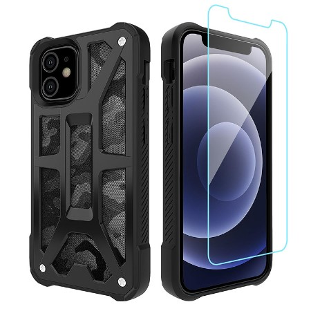 Picture of Supreme Armor Case for iPhone 12 Mini w/Glass Screen Guard, Black Camo