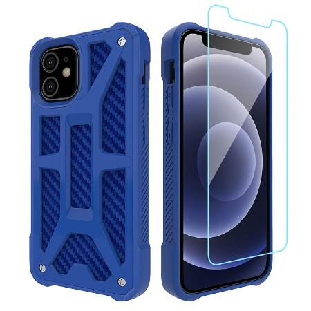 Picture of Supreme Armor Case for iPhone 12 Mini w/Glass Screen Guard, Blue Carbon