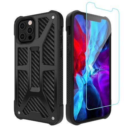 Picture of Supreme Armor Case for iPhone 12/12 Pro w/Glass Screen Guard, Black Carbon
