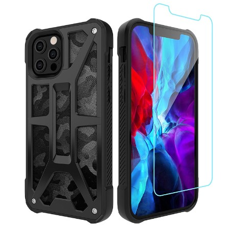 Picture of Supreme Armor Case for iPhone 12 Pro Max w/Glass Screen Guard, Black Camo