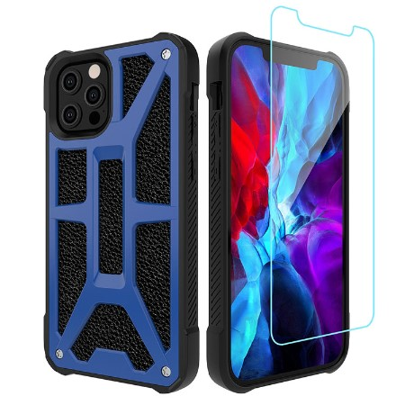 Picture of Supreme Armor Case for iPhone 12 Pro Max w/Glass Screen Guard, Blue