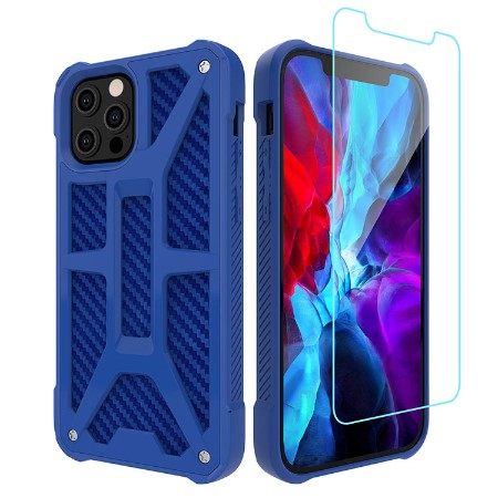 Picture of Supreme Armor Case for iPhone 12 Pro Max w/Glass Screen Guard, Blue Carbon