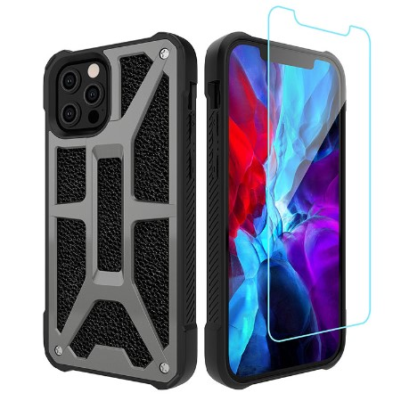 Picture of Supreme Armor Case for iPhone 12 Pro Max w/Glass Screen Guard, Granite Black