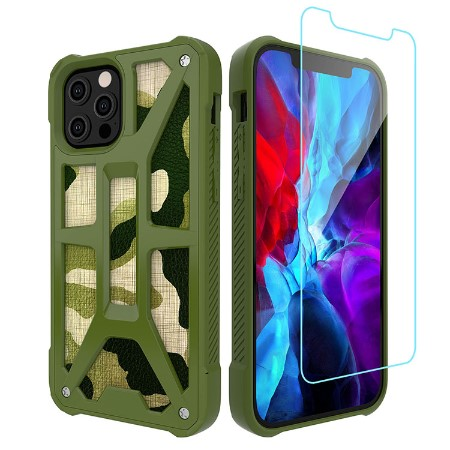Picture of Supreme Armor Case for iPhone 12 Pro Max w/Glass Screen Guard, Green Camo