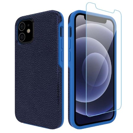 Picture of Supreme Leather Case for iPhone 12 Mini w/Glass Screen Guard, Dark Blue