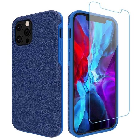 Picture of Supreme Leather Case for iPhone 12/12 Pro w/Glass Screen Guard, Blue