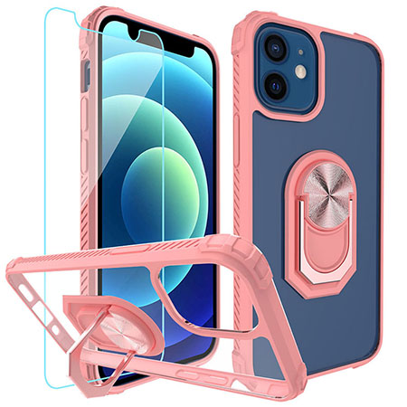 Picture of Slim Ringstand Case for iPhone 12 Mini w/Glass Screen Guard, Soft Pink & Clear
